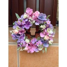 No. wreath-14316★ギフト/花/玄関リース★/アートフラワー・リース16cm/ピンク&パープルあじさい