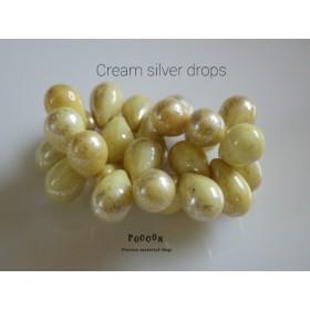 cream ivory silver ドロップ チェコビーズ 20個