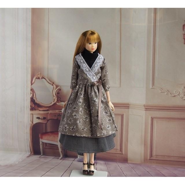 momoko ジェニー outfit.1.12 カシュクールワンピースセット(カーキ花柄)