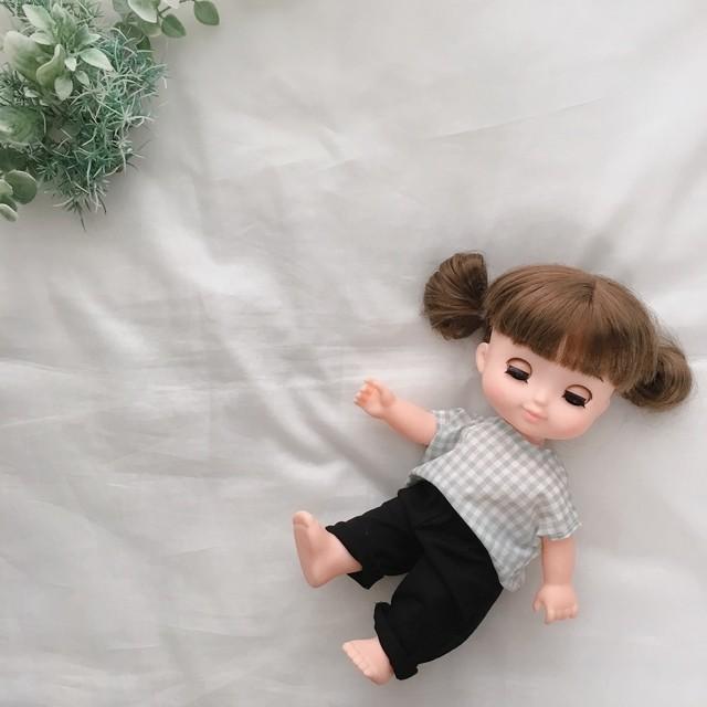 メルちゃん ソランちゃん ギンガムブラウス&黒パンツ