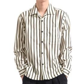(Valletta/バレッタ)【Valletta】 無地 ストライプ柄長袖オープンカラーシャツ[171901] ストライプ柄 無地 開襟 開襟シャツ シンプル ビッグシャツ ワイ/メンズ アイボリー