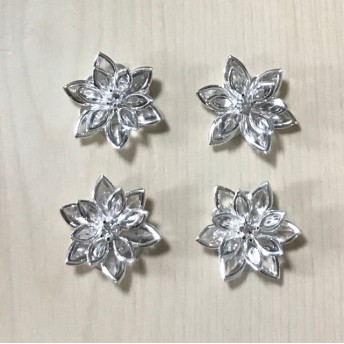 SILVER CLEAR CRYSTAL FLOWER CABOCHONS