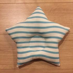 星型ベビー枕【生成り地×水色ボーダー】