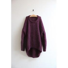 手編みモヘアラウンドネックセーター ダークパープル