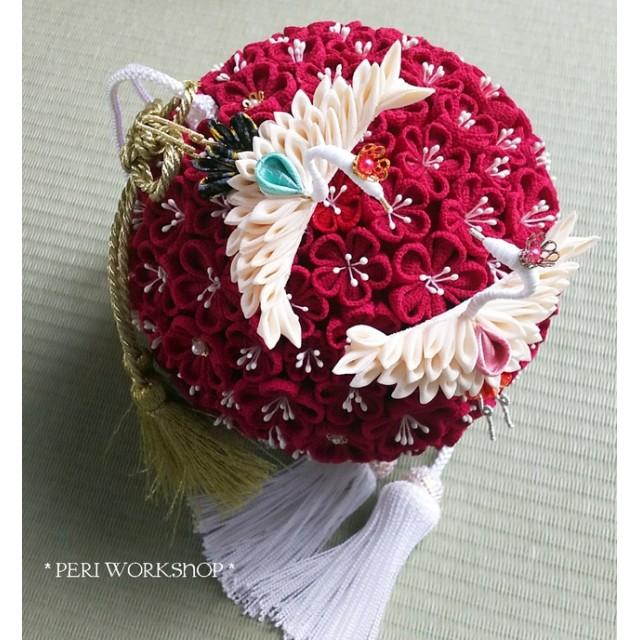 結婚式 和装ブーケ 紅梅と夫婦鶴