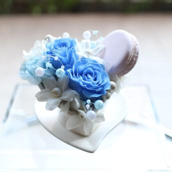 【sale】プリザーブドフラワー ハートの器 ブルー