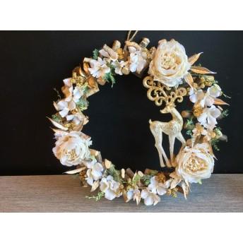 【クリスマス】ホワイト&ゴールドのクリスマスリース/34cm