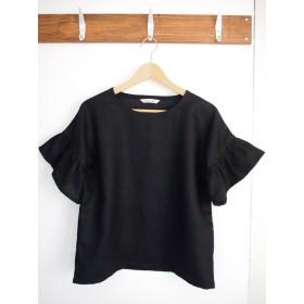 リネン黒アゲハチョウのティアード袖プルオーバー / ドロップショルダー / 半袖