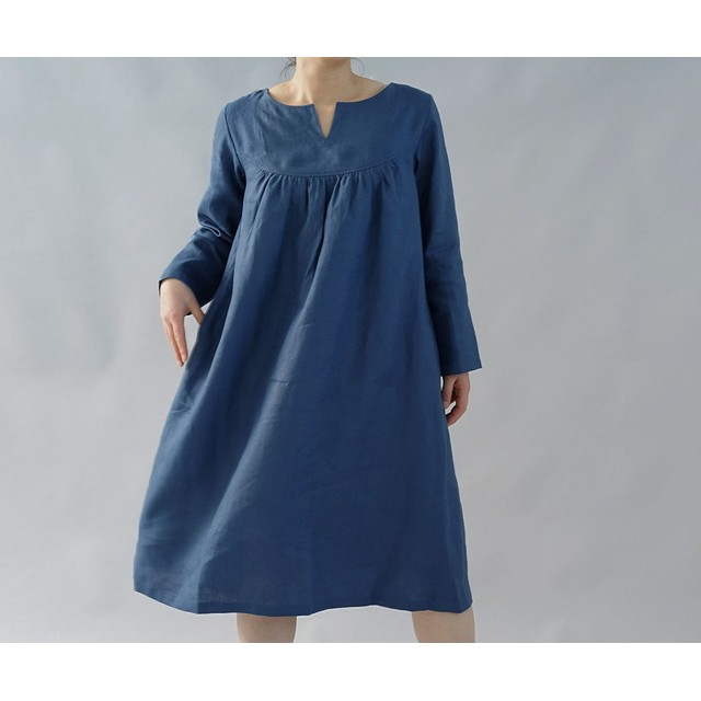 【wafu】中厚 リネン ワンピース スリットネック ギャザー ヨーク ドレス/ブルー マリーヌ a033a-bum2