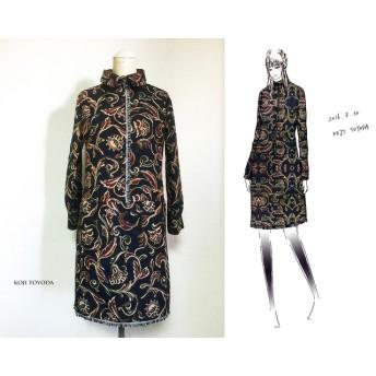【1点もの・デザイン画付き】ゴブラン織り黒紺ワンピース(KOJI TOYODA)