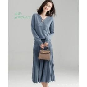 ニットワンピース 長袖のニットワンピース 韓国ファッション 長袖 レディースファッション 二点セット
