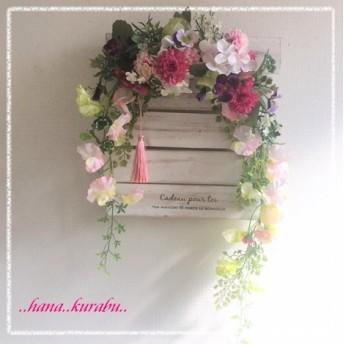 ◆長さ55㎝スイートピーとマムのホースアイゼン◆造花アレンジ・壁掛けリース◆