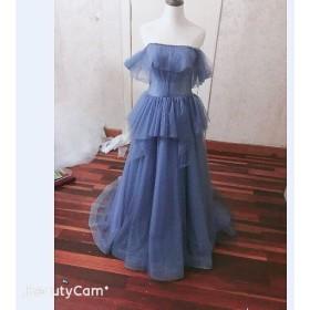 ウエディングドレス オフショルダー トレーン カラードレス 青 ブルー 素チュール お色直し 色変更可能