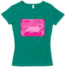 レディース Tシャツ 【商店街を カバ が、行く。】