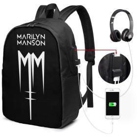 Pcリュック Marilyn Manson マリリンマンソン ロゴ メンズ 大容量 17インチ ビジネスリュック レディース 兼用 ラップトップ バックパック Pcリュック Usb充電 防水 盗難防止 旅行バックパック 防水バックパック 多機能リュック 通学 通勤 出張 旅行用デイパック