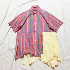 [remake]ピンクオレンジチェック切り替えフリルシャツ