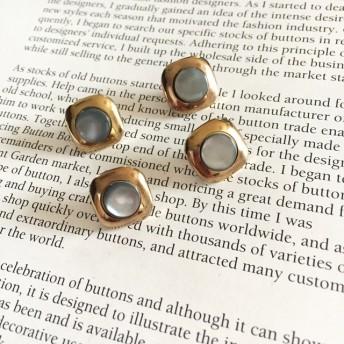 6244 ドイツ ヴィンテージボタン 16mm×4個 mother of pearl / blue shell stone