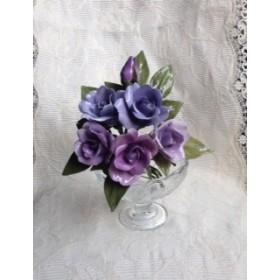 バラの花5輪組 (紫・ロウの花・造花)