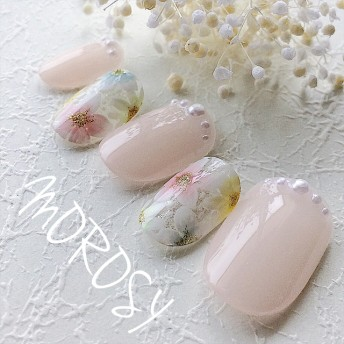 MOROSY62☆カラフル フラワー お花 ブライダル ウェディング パール ピンクネイル