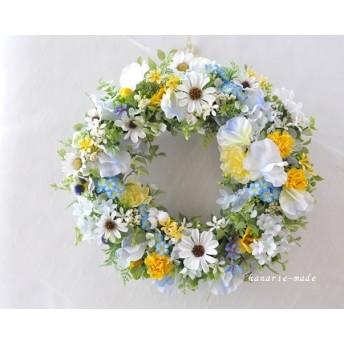 白い花にわすれな草をそっとそえて:花のリース