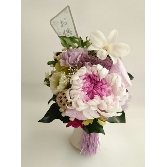 仏花 ホワイトパープルの大菊とデンファレ