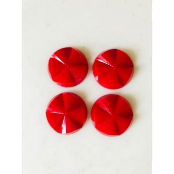 Vintage Red Carved 28mm Cabochons