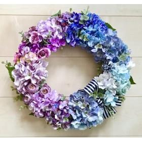 No. wreath-15052/★ アジサイのグラデーション・リース(1)42cm・アートフラワー/造花リース