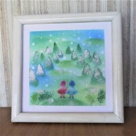 原画【雪山を眺める小さなお友達】額込パステルアート