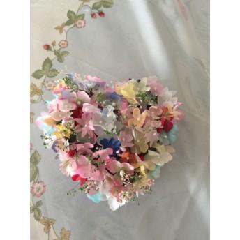 小花いっぱいハートの壁飾り