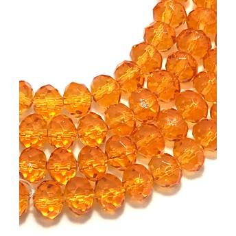 【273】多面の透明ガラスビーズストランド オレンジ 1連(約60個)