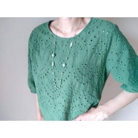 ミントグリーン色 80センチ 金属アレルギー対応・軽量シルクコードネックレス(大人かわいい・軽い)