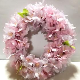 再販!小さな春色桜のリース