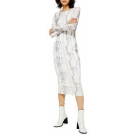 トップショップ レディース ワンピース トップス Topshop Long Sleeve Batik Mesh Midi Dress White Multi