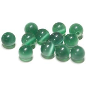 【10個入り】天然石キャッツアイ〜Emeraldカラー6mm両穴ビーズ