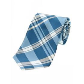 【TAKA-Q:スーツ・ネクタイ】シルク混チェック柄レギュラーネクタイ8.5cm幅
