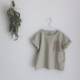 こどもスクエアブラウス半袖◎イエローグリーン (100cm)