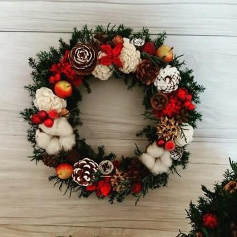 【再販売】ハッピーメリークリスマスリース~ホワイトレッド~