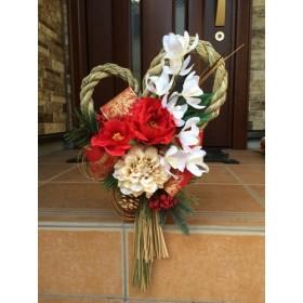 No. wreath-14226/★ギフト/花/玄関リース★/アートフラワー・迎春しめ縄リース45cm/ピオニー・ダリア・オーキッド