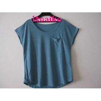 4種類のスワロフスキー☆Tシャツ ♪(グリーンブルー)