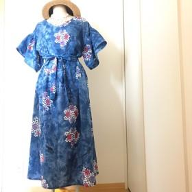 浴衣リメイク ダイダイと紫陽花のフレアースリーブワンピース
