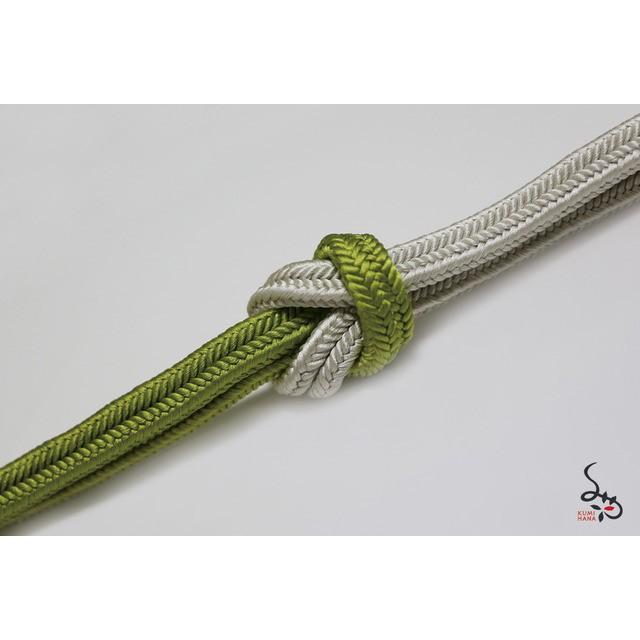 冠組(ゆるぎぐみ)帯締め 山吹色×黄緑×パールグレーのグラデーション
