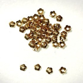 銅製 極小座金 ビーズキャップ花 約3mm ゴールド 約50個