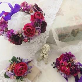 結婚式、二次会に パープルピンク系の薔薇の花冠、リストレット、ブートニア3点セット