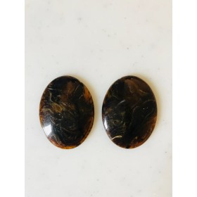 Vintage Brown Marble Oval Cabochons
