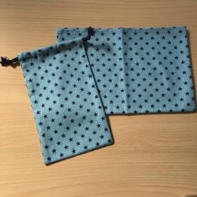 【給食2点セット】 40×60cm ランチョンマット w15×25cm コップ袋 杢水色 紺色 星柄 オックス