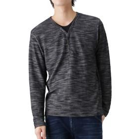 長袖Tシャツ ロンT 無地 メンズ スラブ ヘンリーネック ロングTシャツ モノトーン グレー ブラック ライトグレー シンプル 9474-1713M グレー:L