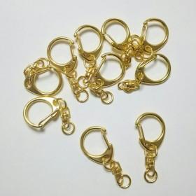 【ゴールド】 回転カン付き キーホルダー 10個
