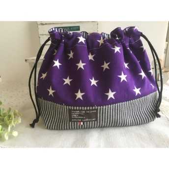 お弁当袋 カッコイイ 星 ☆ 紫