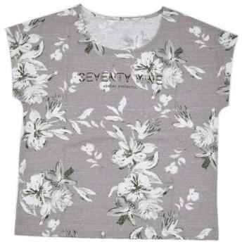【送料無料】ロゴプリント大花総柄Tシャツ:G/BEIGE