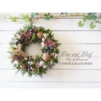 トチノミとブラックベリーのクリスマスリース[W-16108]~Vine and Leaf の Christmas
